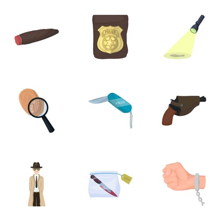A detective, a pistol in a holster, a police badge, a magnifying glass and a fingerprint, criminal news and other attributes. Detective and crime set collection icons in cartoon style vector symbol stock illustration web. Illustration