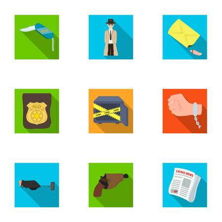 poison sign: A detective, a pistol in a holster, a police badge, a magnifying glass and a fingerprint, criminal news and other attributes. Detective and crime set collection icons in flat style vector symbol stock illustration web. Illustration