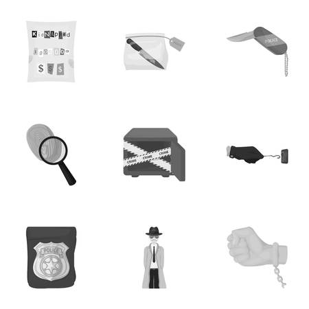 poison sign: A detective, a pistol in a holster, a police badge, a magnifying glass and a fingerprint, criminal news and other attributes. Detective and crime set collection icons in monochrome style vector symbol stock illustration web.