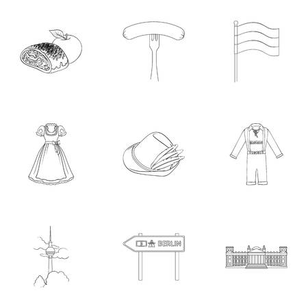 Herba, Germany, symbols, and other web icon in outline style.Building, towers, roof, icons in set collection.