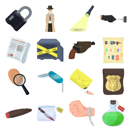 poison sign: A detective, a pistol in a holster, a police badge, a magnifying glass and a fingerprint, criminal news and other attributes. Detective and crime set collection icons in cartoon style vector symbol stock illustration web. Illustration