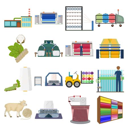 Textiles, industry, factory and other web icon in cartoon style.Plant, mill, building, icons in set collection.