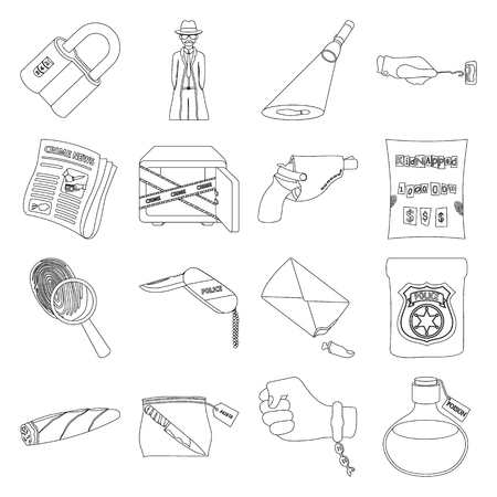 poison sign: A detective, a pistol in a holster, a police badge, a magnifying glass and a fingerprint, criminal news and other attributes. Detective and crime set collection icons in outline style vector symbol stock illustration web.