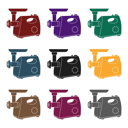Electical meat grinder icon in black style isolated on white background. Kitchen symbol stock vector illustration.
