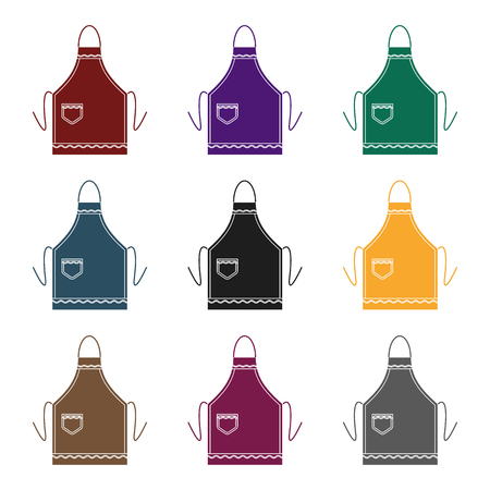 kitchen cleaning: Apron icon in black style isolated on white background. Kitchen symbol stock vector illustration. Illustration