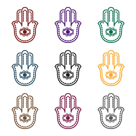Hamsa icon in black style isolated on white background. Religion symbol vector illustration. Stok Fotoğraf - 87381743