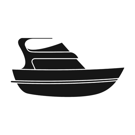 Expensive yacht for rich people.Yacht for vacations and short trips.Ship and water transport single icon in black style vector symbol stock web illustration.