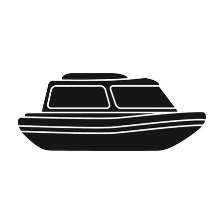 Orange rescue boat.Boat pour sauver les personnes qui se noient. L'icône unique de transport de l'eau et de l'eau dans l'illustration de vecteur de stock de symbole vectoriel de style noir.