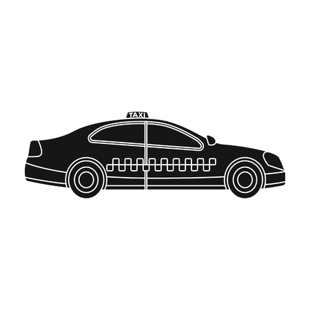 Yellow taxi car in profile.Transport taxi station for passengers. Taxi station single icon in black style vector symbol stock web illustration