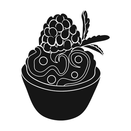 Vegetarian dessert. For vegetarians ice cream in a chocolate Cup and raspberry.Vegetarian Dishes single icon in black style vector symbol stock web illustration