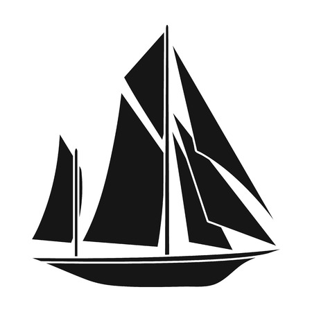 Vintage boat explorers.Sailboat on which ancient people traveled around the Earth.Ship and water transport single icon in black style vector symbol stock web illustration.