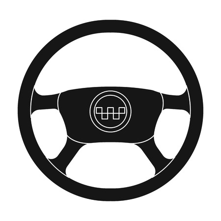 Black wheel with yellow emblem of taxi. The element to control the taxi car. Taxi station single icon in black style vector symbol stock web illustration Illustration