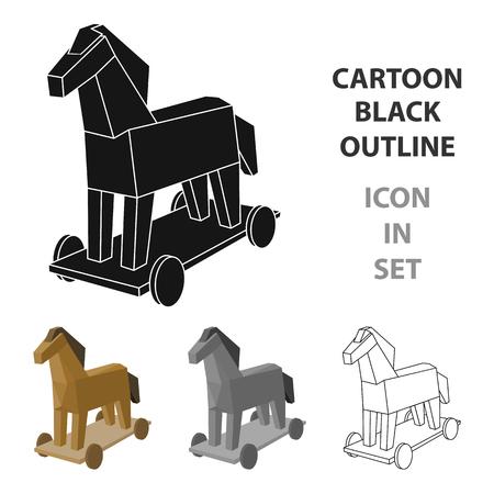 흰색 배경에 고립 된 만화 디자인의 트로이 목마 아이콘. 해커 및 해킹 기호 주식 벡터 일러스트 레이 션.
