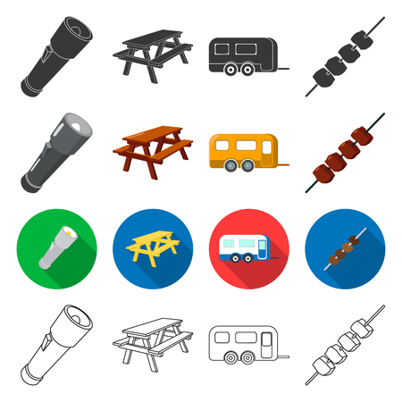 tourism, transportation, tools and other  icon in different style. meat, picnic, hiking icons in set collection.