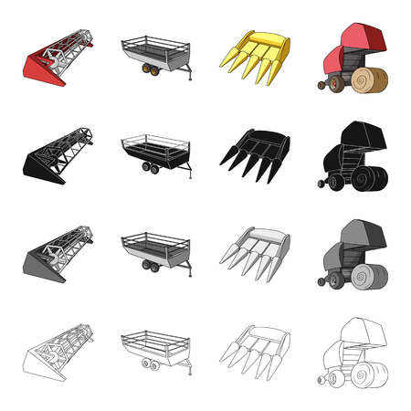device: Combine harvester, hay trailer, bucket, hay packing. Different types of agricultural machinery set collection icons in cartoon black monochrome outline style vector symbol stock isometric illustration . Illustration