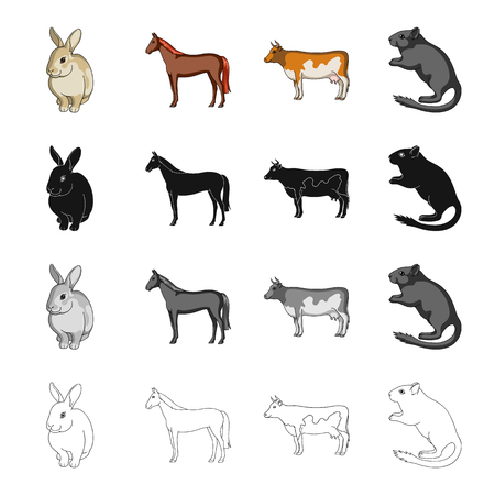 Animal, horse, mane and other  icon in cartoon style.Rabbit, fur, domestic, icons in set collection Illustration