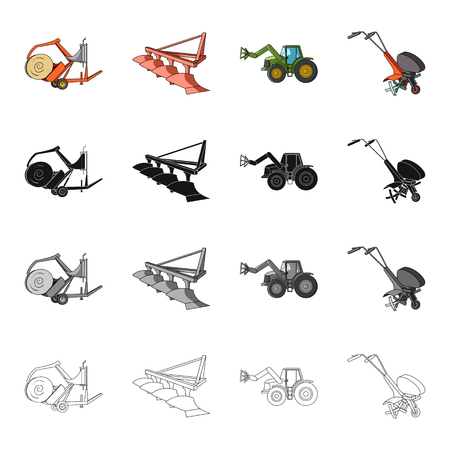 device: A trolley with a roll of hay, an agricultural plow, a tractor with a grip, a hand-held motoblock. Different types of agricultural machinery set collection icons in cartoon black monochrome outline style vector symbol stock isometric illustration .