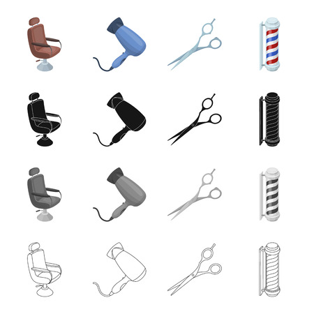 dryer: Armchair, furniture, leather, and other  icon in cartoon style.Hygiene, cosmetology, barbershop icons in set collection