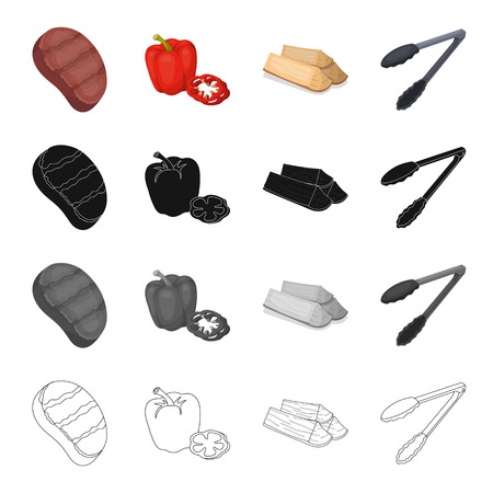 Barbecue, picnic,ounket and other  icon in cartoon style.Steak, beef, pork, icons in set collection Illustration
