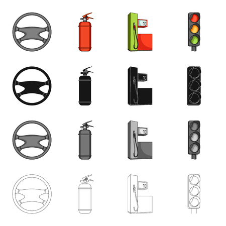 device: Steering wheel, fire extinguisher, gas station for the car, traffic light. Car and accessories set collection icons in cartoon black monochrome outline style vector symbol stock Isometric illustration .