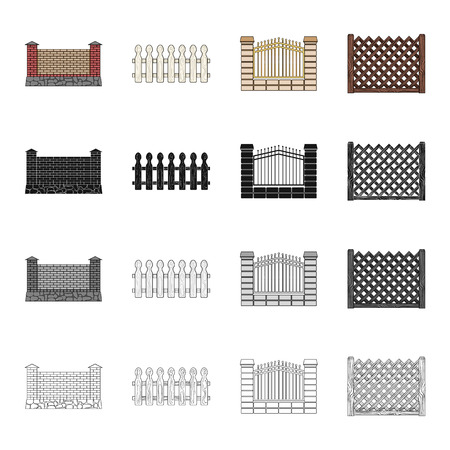 Fencing, palisade, paling and other  icon in cartoon style.Fence, rack, span, icons in set collection
