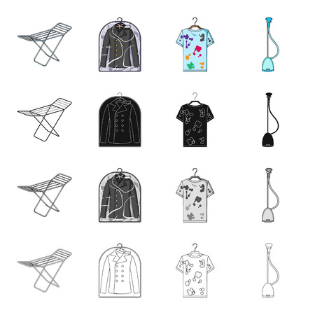 device: Drying device, dry-cleaning jacket, dirty T-shirt, vacuum cleaner. Dry Cleaning set collection icons in cartoon black monochrome outline style vector symbol stock Isometric illustration .