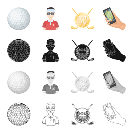 Sports, putter, ball, and other  icon in cartoon style.Attributes, golf, competitions icons in set collection
