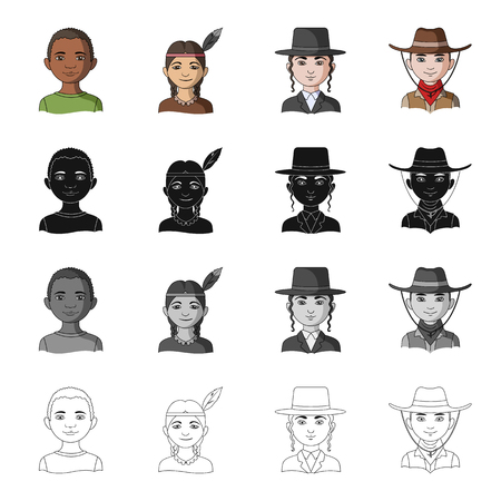 mongoloid: Different race of Negro, Indian, Jew, American. The human race set collection icons in cartoon black monochrome outline style vector symbol stock illustration .