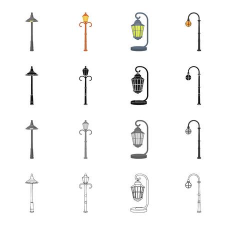 전기, 어플 라 이언 스, 척 및 만화 스타일의 다른 아이콘. 랜 턴, 거리, 설정 컬렉션의 조명 아이콘