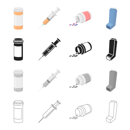 Hospital, pharmacy, instruments and other  icon in cartoon style. Treatment, packaging, polyclinic, icons in set collection