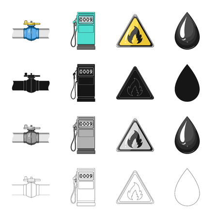 oil and gas industry: Machinery,oil, fire, and other  icon in cartoon style.Industry, enterprises, tower icons in set collection