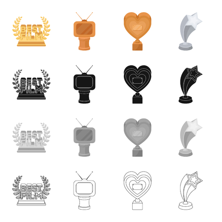 Reward for the best film, golden TV, golden heart, silver star. Different Kinds of Movie Awards set collection icons in cartoon black monochrome outline style vector symbol stock isometric illustration . Stock Illustratie