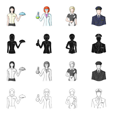 Profession, education, hobby, and other  icon in cartoon style.Man, concierge, guard icons in set collection