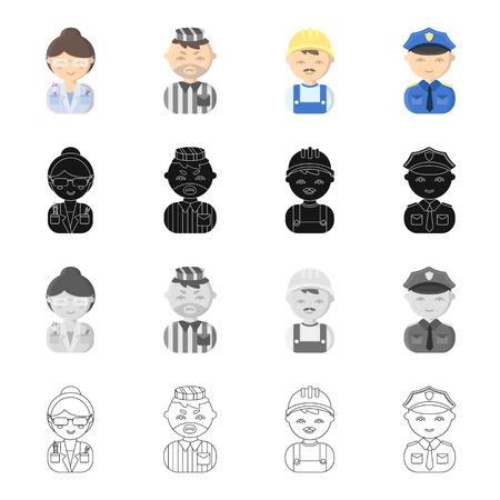 Beruf, Berufung, Hobby und andere Ikone im Karikaturstil. Polizist, Abzeichen, Gewebe, Ikonen in der Satzansammlung
