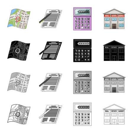 Map, plan, landmark, and other  icon in cartoon style.Office, purchase icons in set collection 向量圖像