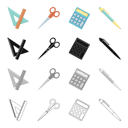 device: School accessories triangle, ruler, scissors, pen and calculator. School and learning set collection icons in cartoon black monochrome outline style vector symbol stock isometric illustration .