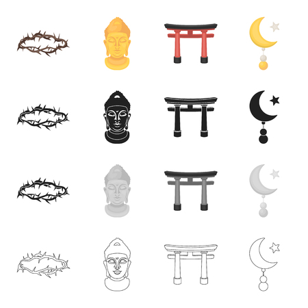 History, attributes, religion and other  icon in cartoon style. Accessories, equipment, tools, icons in set collection
