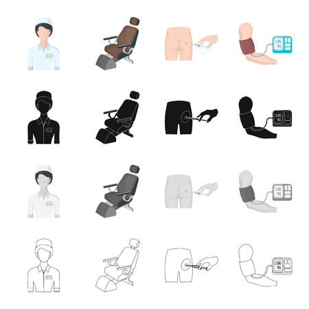 device: Medical worker, dental chair, injection in the buttock, measurement of blood pressure. Medicine set collection icons in cartoon black monochrome outline style vector symbol stock isometric illustration .