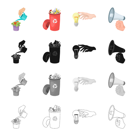 Watering a houseplant, a garbage can, a light bulb in his hand, a megaphone in hand. Movement and manipulation set collection icons in cartoon black monochrome outline style vector symbol stock isometric illustration . Illustration