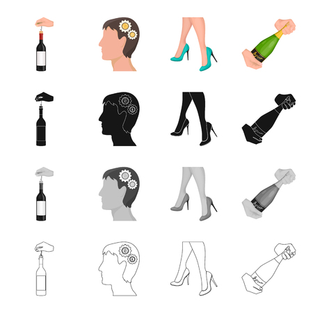 Champagne, glass, date and other  icon in cartoon style. Shoes, classic, model, icons in set collection