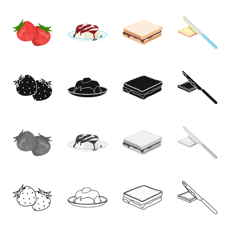 Strawberry, dessert with jam, food sandwich with chocolate, buttering with knife.Fruit and dessert set collection icons in cartoon black monochrome outline style vector symbol stock illustration isometric .