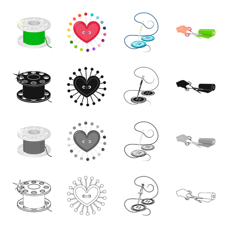 black hole: Threads for sewing, a pillow for pins, a needle with thread and a button, a roll of fabric and scissors. Atelier and sewing set collection icons in cartoon black monochrome outline style vector symbol stock illustration isometric .