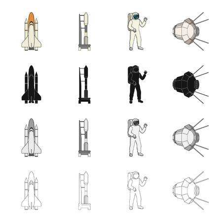 Sputnik, universum, planeet en andere web-pictogram in cartoon stijl. Galaxy, satelliet, cosmodrome, pictogrammen in set collectie. Stock Illustratie
