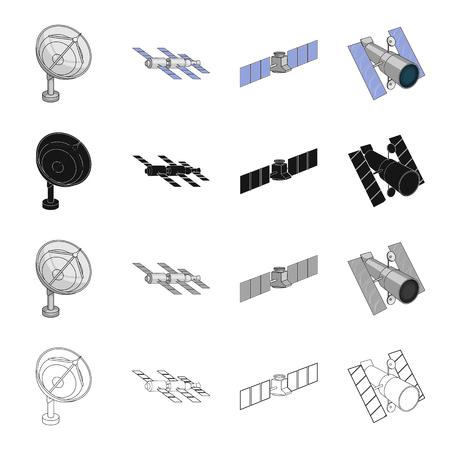 Galaxy, satelliet, radar en ander webpictogram in cartoonstijl. Inovation, technologie, sputnik, pictogrammen in set collectie.