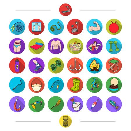 Sport, opleiding, dieet en andere web-pictogram in cartoon stijl. Vissen, recreatie, wedstrijden, pictogrammen in set collectie.