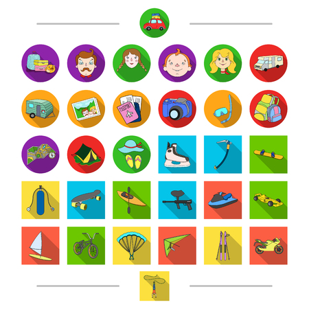 Hobbies, tourism, travel and other web icon in cartoon style. Attributes, transport, sports, icons in set collection.