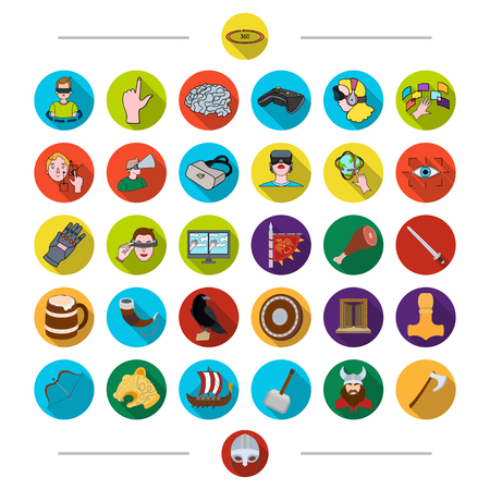 Progress, science, history and other web icon in cartoon style. Hammer, Viking, mask, icons in set collection. Illustration