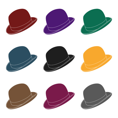 Bowler hat icon in black style isolated on white background. Hipster style symbol stock vector illustration.
