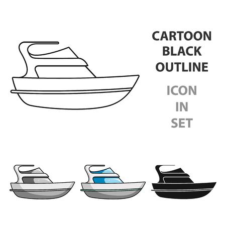 Yacht single icon in cartoon style illustration.