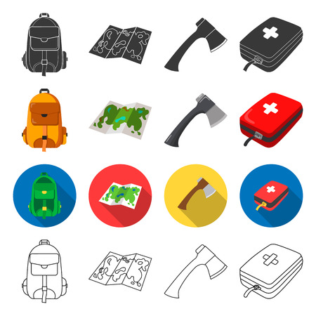 medicines, attributes, tourism and other  icon in different style.first, aid, kit, bag icons in set collection.